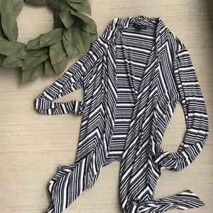 WHBM Black White Stripe Throw Maxi Cardigan
